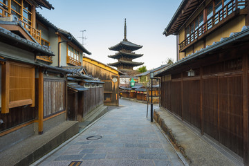 Wall Murals Kyoto Yasaka pagoda with Kyoto ancient street in Japan