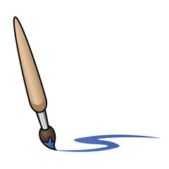 Illustration depicting a cartoon paintbrush painting a blue curved line.