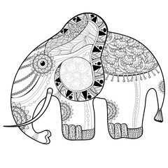 Coloring book page for adults. Elephant.