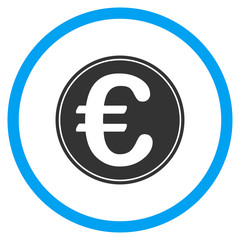 Euro Coin vector icon. Style is bicolor flat circled symbol, blue and gray colors, rounded angles, white background.