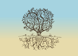 Hand drawn tree isolated sketch in vintage style
