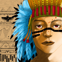 Digital paint portrait of american indian head