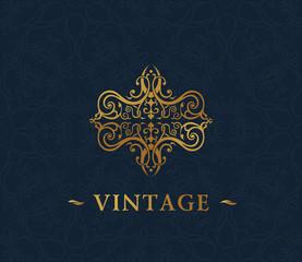 Calligraphic luxury symbol. Emblem ornate decor elements