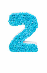 number two of the blue crepe paper. decorative arabic numeral two for parties, anniversaries and other events. isolated on white background