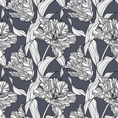 Abstract floral pattern with stylized tulips. Graphic seamless background in subdued, elegant grayish colors. Simple to edit.