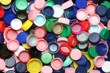 Colorful plastic caps background