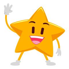 happy Star Mascot Waving Hand