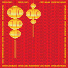 Chinese New Year on red background. Lamp and gold lighting on Chinese New Year holiday.