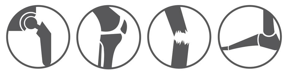 Orthopädie Icons - Hüfte, Knie, Trauma, Fuß