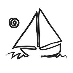 doodle sailboat,  illustration icon