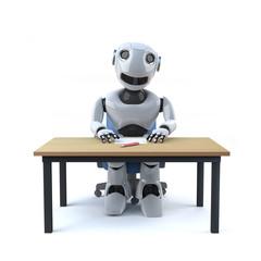 3d Robot worker sits at desk
