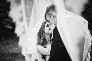 Young wedding couple under veil looking each other
