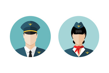 Pilot and stewardess icons