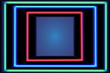 Three multicolored self-illuminated frames in the shining room and the place for text. Neon light. Vector illustration.