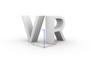 VR text on a white background with coordinate system