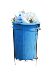 Trash can filled with rubbish, isolated on the white