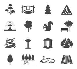 Wall Mural - Park icons vector set. Symbol tree, nature wood, plant and environment illustration