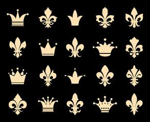 Wall Mural - Crown and fleur de lis icons. Symbol insignia, royal antique heraldic decoration, vector illustration