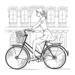 La pose en embrasure Art Studio Girl bicyclist in Paris. Leisure young woman, urban travel, fashion city. Hand drawn beautiful girl in Paris vector illustration