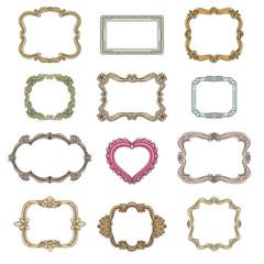 Vintage decorative frames. Decoration element, ornament decorative frames for wedding, vintage frames set vector illustration
