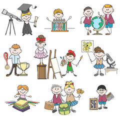 Kids hobbies doodle drawings. Boy and girl, childhood and school education. Doodle drawings kids hobbies or hand drawn children hobby set vector illustration