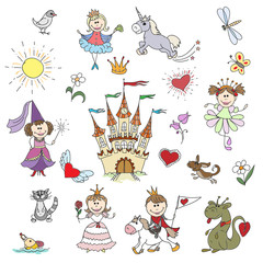Happy little princesses sketches. Cartoon girl in dress, childhood fantasy drawing. Doodle drawn little princesses vector illustration