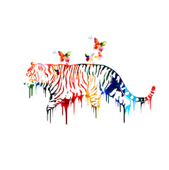 Colorful tiger design with butterflies