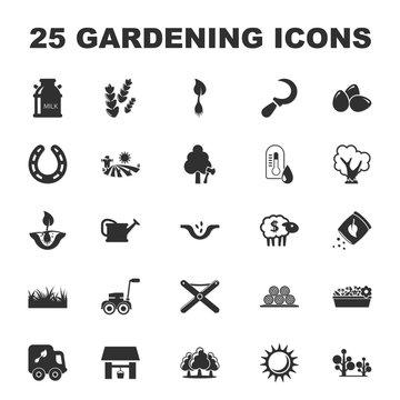 farm, gardening 25 black simple icons set for web