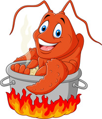 Cartoon funny lobster being cooked in a pan