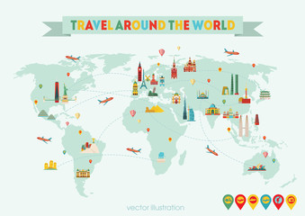 World map. Travel and tourism background. Vector illustration