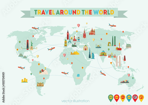World map travel and tourism background vector illustration world map travel and tourism background vector illustration gumiabroncs Choice Image