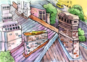 old roof, watercolor, ink