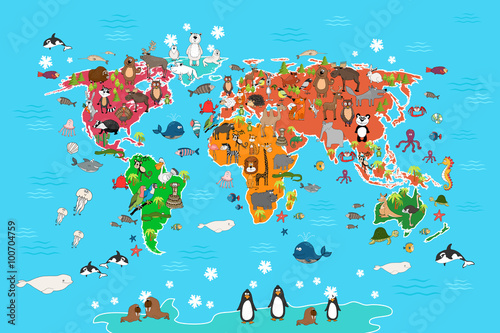 World map with animals monkey and hedgehog bear and kangaroo hare world map with animals monkey and hedgehog bear and kangaroo hare wolf panda gumiabroncs Images