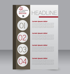 Flyer, brochure, magazine cover template design for education, presentation, website. Brown and red color. Editable vector illustration.