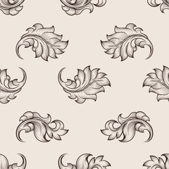 Wall Mural - Engraved floral pattern. Repetition floral seamless background, floral decor backdrop, floral vector ornament illustration