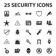 Security, police, protection 25 black simple icons set for web