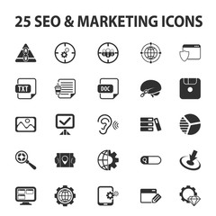 SEO, promotion, marketing, marketer 25 black simple icons set for web