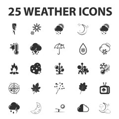 Weather forecast 25 black simple icons set for web