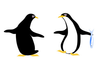 魚を持ち会話する2羽のペンギン