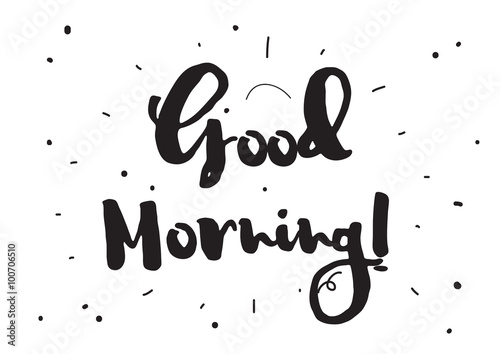 Good Morning Greeting Card With Calligraphy Hand Drawn Design
