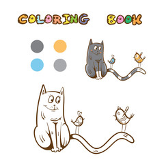 Coloring book with cute cartoon cat and birds. Vector image.
