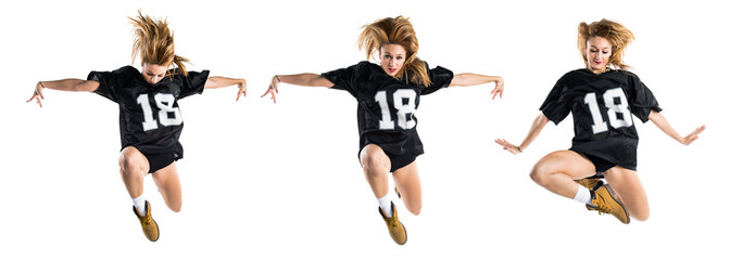 Woman dancing street dance and jumping