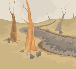Environment and dry creek scene vector nature background
