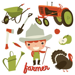 farmer kid profession. cute character set.