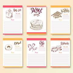 Recipe blanks collection. Dessert objects with hand dawn lettering. Vector food illustration