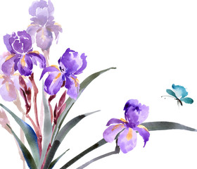 Wedding invitation cards with a watercolor blossoming irises. (Use for Boarding Pass, invitations, thank you card.) Vector illustration.