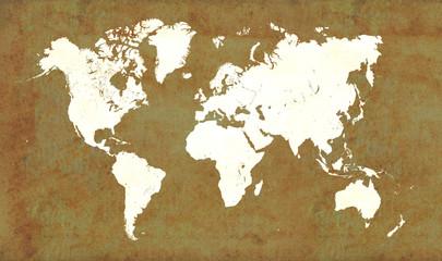 World map, vintage