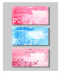 Wedding invitation Card set (thank you card, Boarding Pass, Wedding Invitation.) Template Vector.
