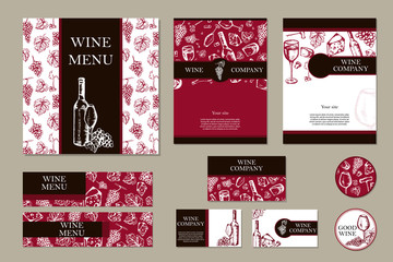 Wine company. Restaurant theme. Corporate identity. Document tem