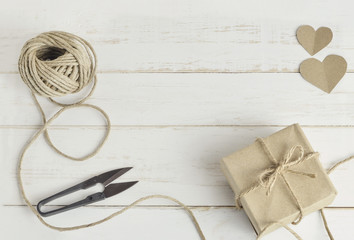 Handmade gift box with brown rope